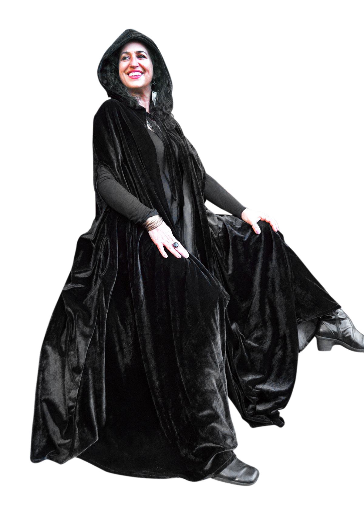Black Hooded Cloak Cape Velvet