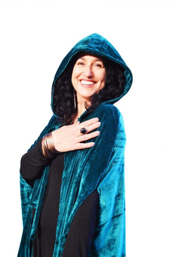 teal hooded cloak cape