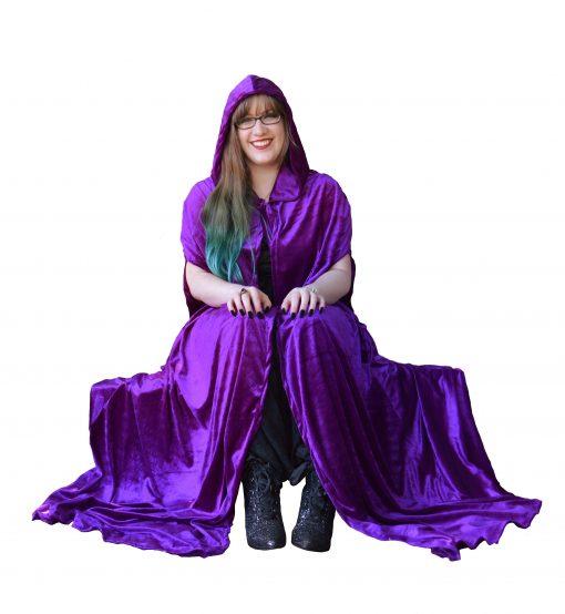 purple hooded cloak velvet