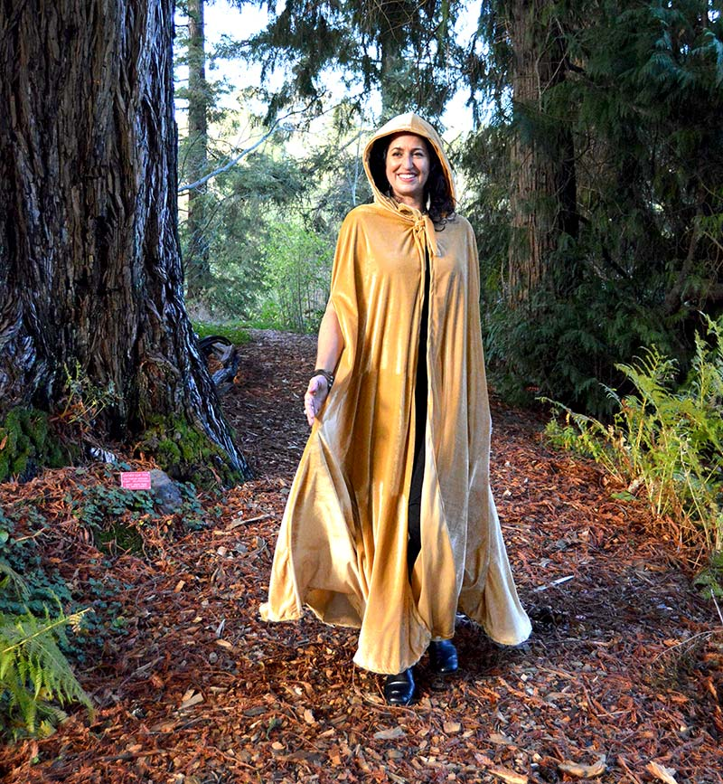 gold hooded cloak cape