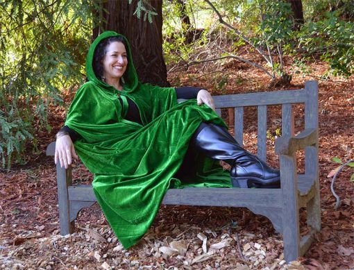 Green hooded cloak cape