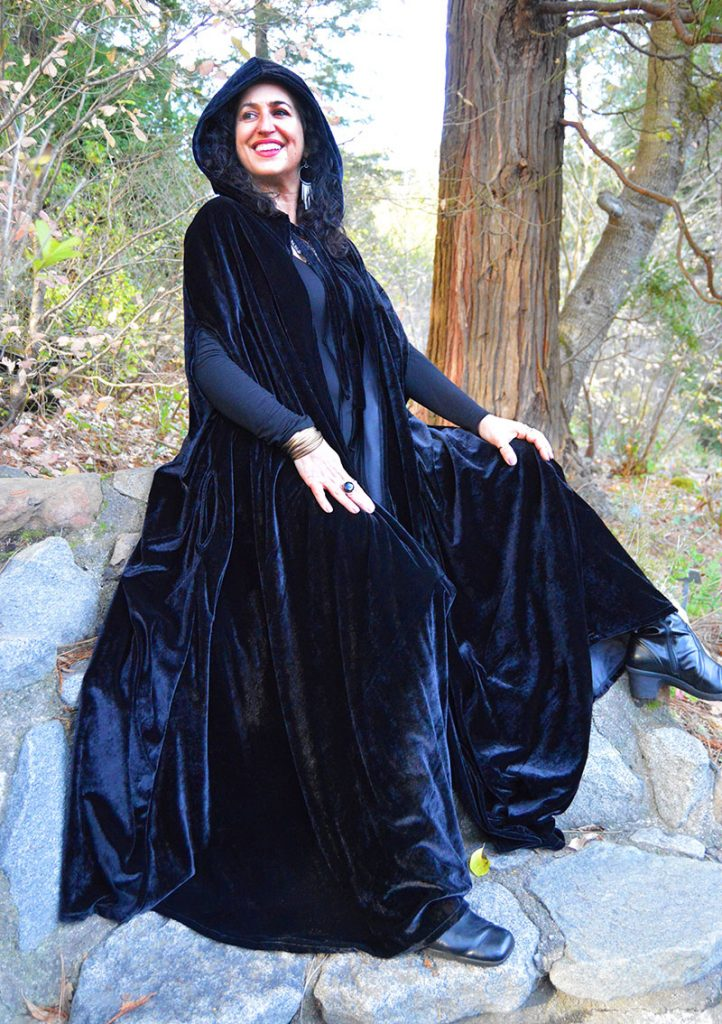 velvet medieval hooded cloak
