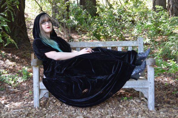 goth hooded cloak velvet