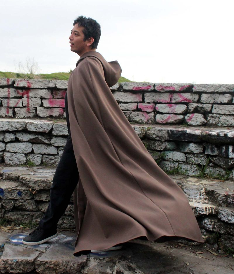 Brown Hooded Cloak with pockets