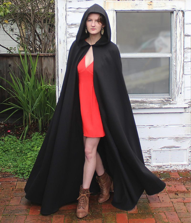 Hooded Black Cloak with Pockets
