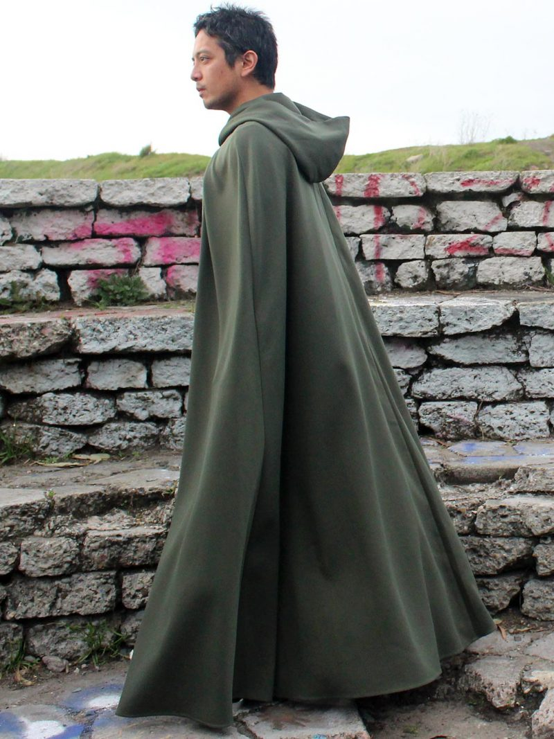 Green Hooded Cloak with Pockets