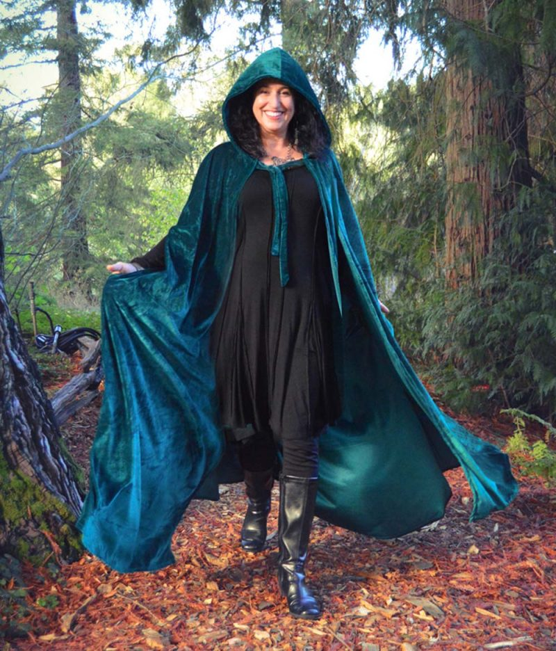Velvet Cloak with Hood and Pockets in Purple or Teal, Two Lengths