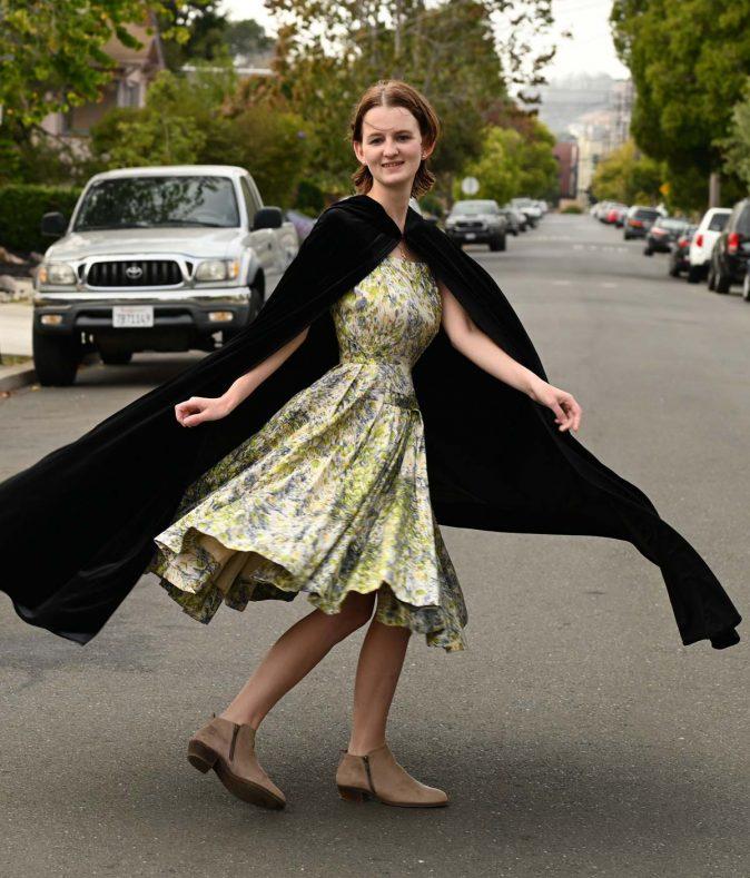 black velvet cloak with hood